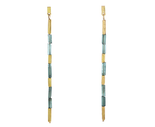 Green Tourmaline Reed Earrings
