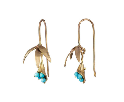 Gold and Turquoise Wildflower Earrings - TWISTonline