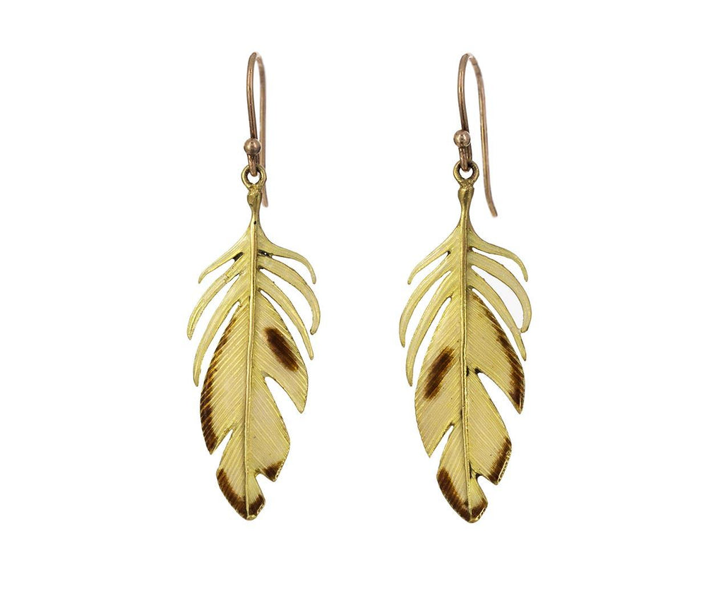 Gold and Enamel Feather Earrings - TWISTonline
