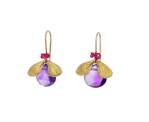 Amethyst and Pink Spinel Jeweled Bug Earrings