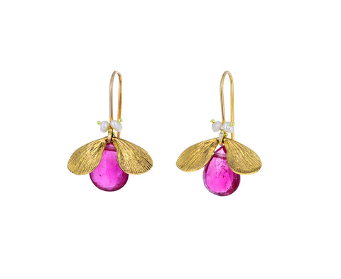 Rubellite and Pearl Jeweled Bug Earrings