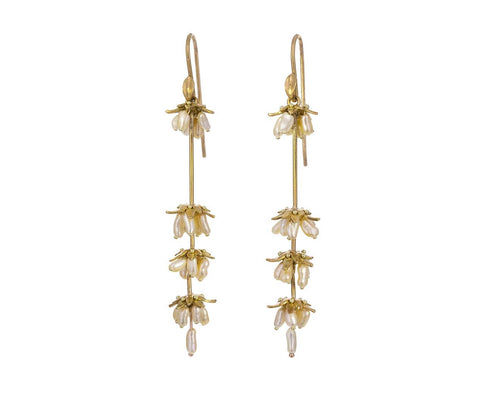 Gold and Keshi Pearl Lavender Earrings - TWISTonline