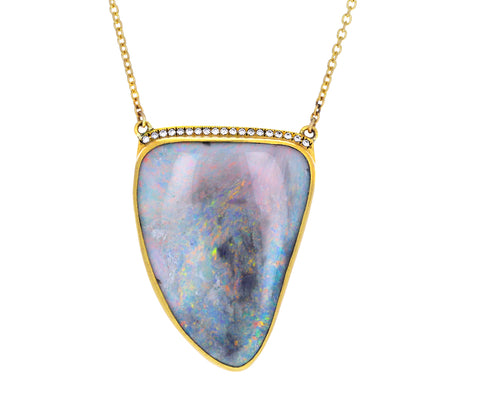 Boulder Opal and Diamond Amazon Claw Necklace