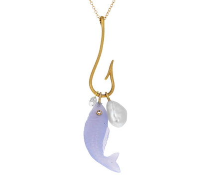 Blue Chalcedony Fish and Pearl Pendant Necklace
