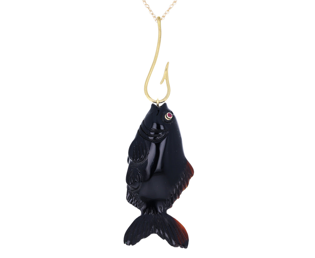 Black Onyx Carved Fish Pendant Necklace