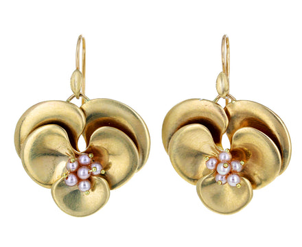 Pearl Pansy Earrings