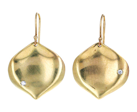 Gold and Diamond Rose Petal Earrings - TWISTonline