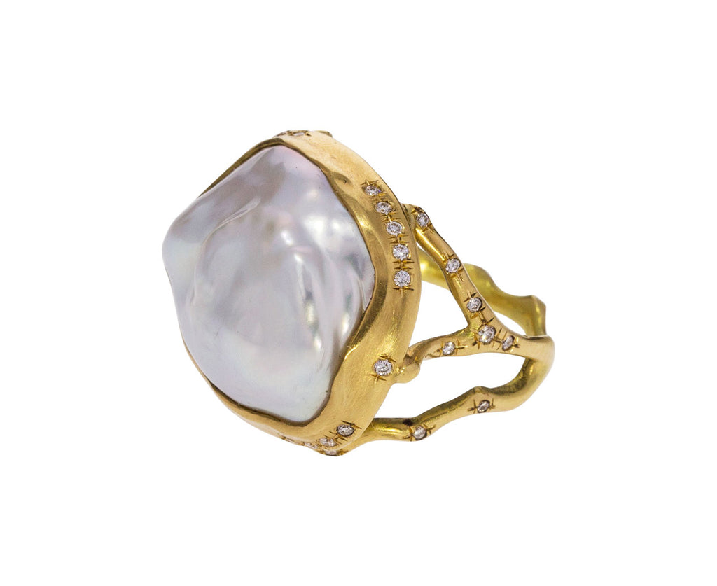 Baroque Pearl Branch Ring with Diamonds