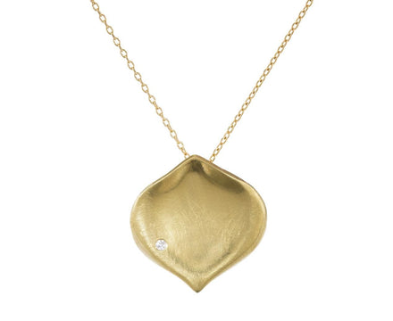 Medium Gold Rose Petal Pendant Necklace with Diamond - TWISTonline