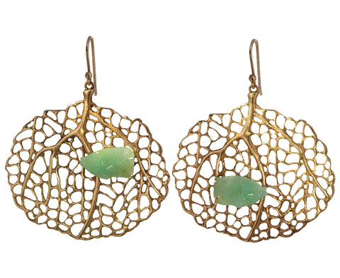 Chrysoprase Fish and Sea Fan Earrings - TWISTonline