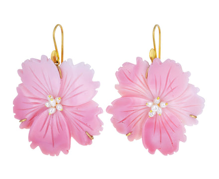 Pink Conch Wild Rose Blossom Earrings