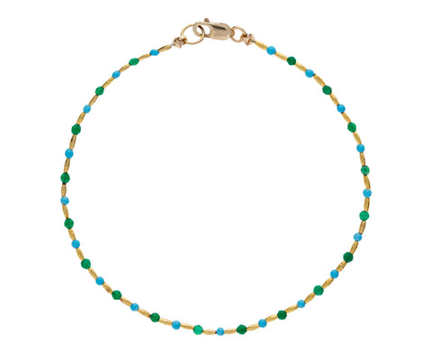 Green Onyx, Turquoise and Gold Vermeil Beaded Bracelet - TWISTonline