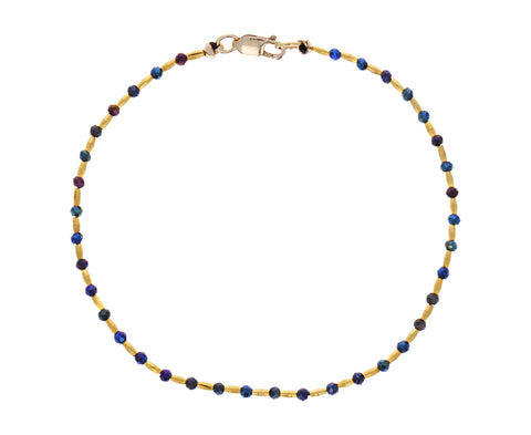 Iridescent Black Spinel and Gold Bead Bracelet - TWISTonline