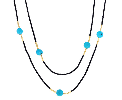Long Turquoise and Black Seed Beaded Necklace