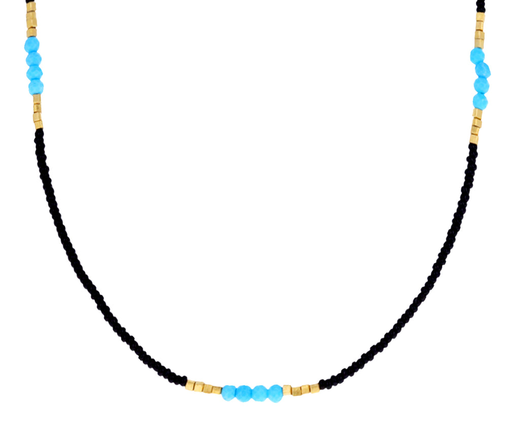 Turquoise and Black Seed Bead Necklace