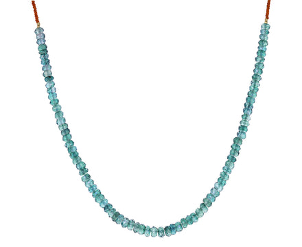 Green Quartz and Brown Seed Bead Necklace