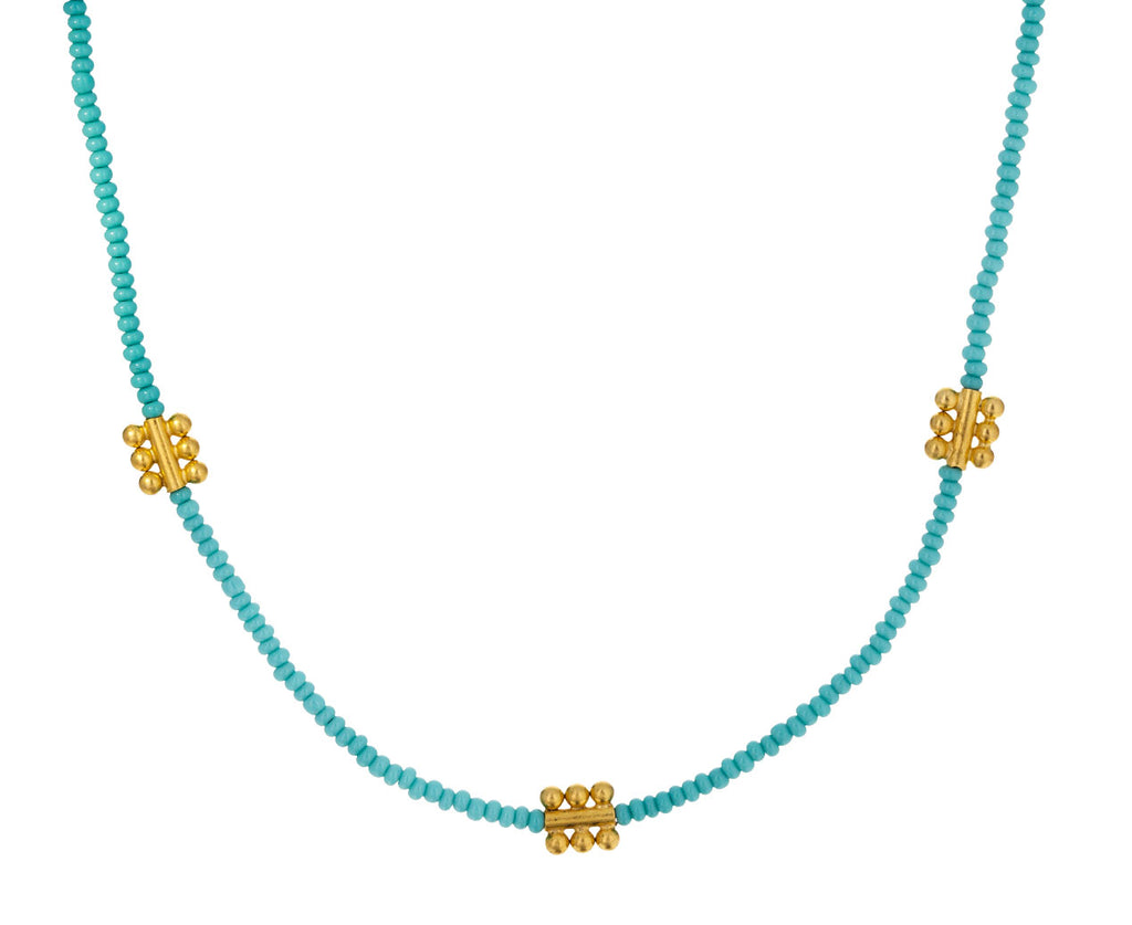 Turquoise Seed Beads and Gold Charm Necklace