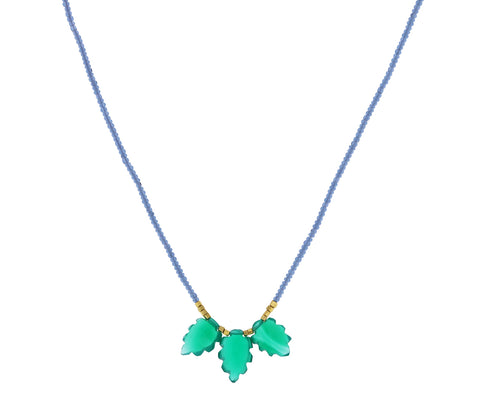 Green Onyx Leaf Necklace