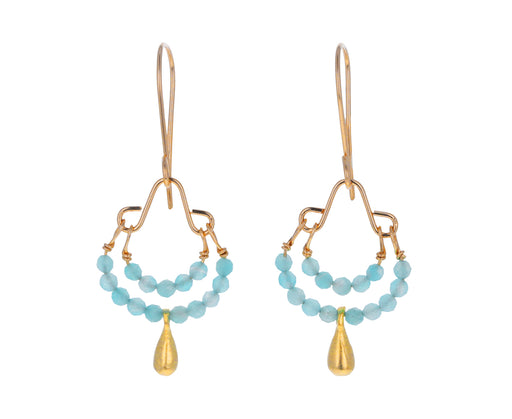 Amazonite and Gold Plated Dangle Earrings