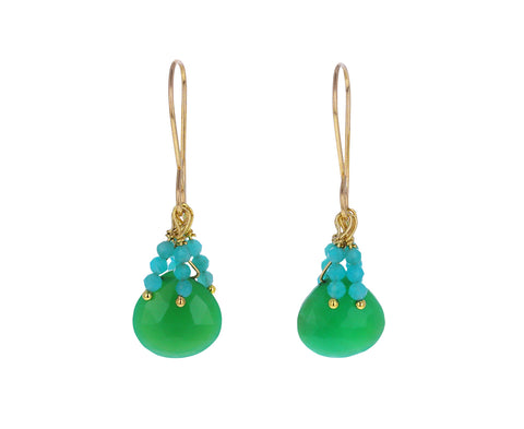 Chrysoprase and Amazonite Dangle Earrings