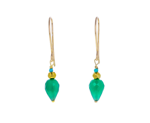 Green Onyx and Turquoise Drop Earrings