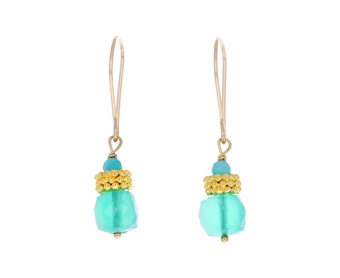 Green Onyx Gold Bead Earrings