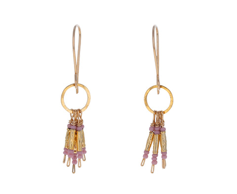 Pink Seed Bead Fringe Earrings