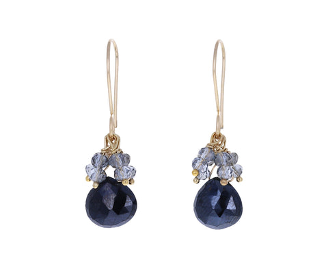 Black Spinel and Gray Quartz Earrings