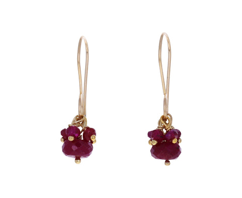 Ruby Cluster Earrings