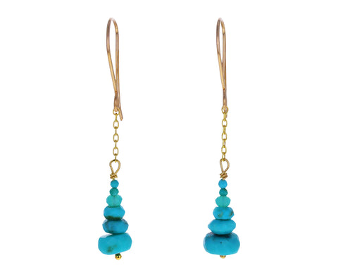 Graduated Turquoise Beaded Dangle Earrings