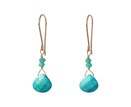 Blue Quartz and Turquoise Drop Earrings