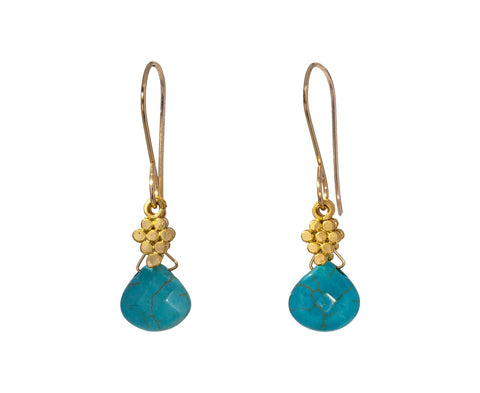 Turquoise and Gold Dangle Earrings - TWISTonline