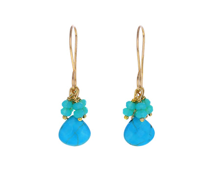 Turquoise and Blue Quartz Drop Earrings