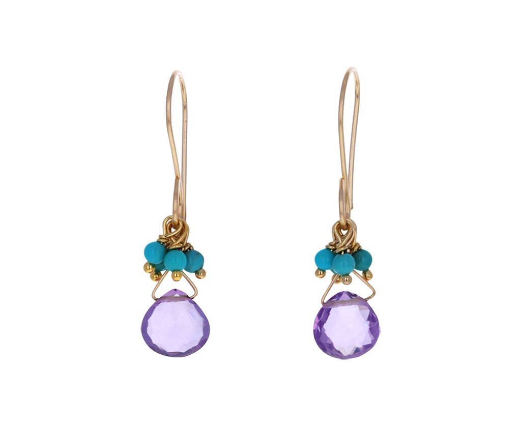 Amethyst and Turquoise Cluster Earrings