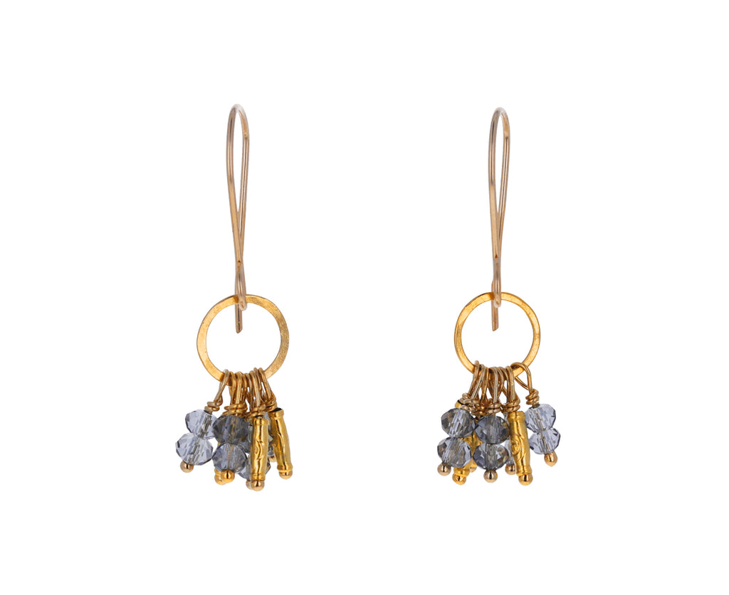 Beaded Quartz Cluster Earrings