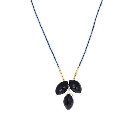 Triple Black Spinel Pendant Necklace