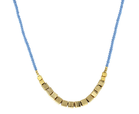 Gray Seed Bead and Gold Vermeil Necklace
