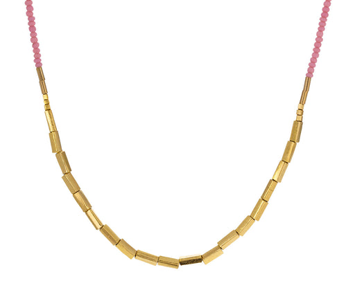 Pink Seed Bead and Gold Fill Necklace