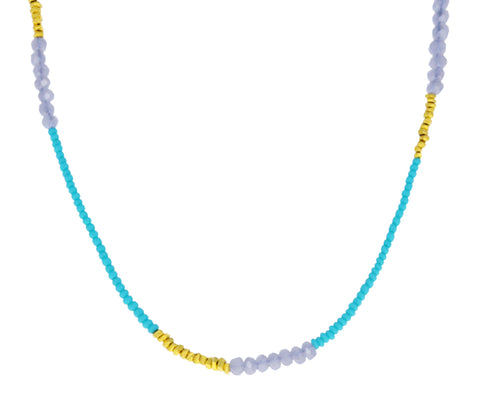 Turquoise and Mystic Quartz Beaded Necklace