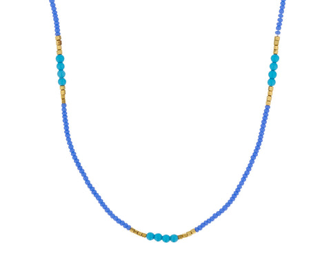Turquoise and Gold Vermeil Bead Necklace - TWISTonline