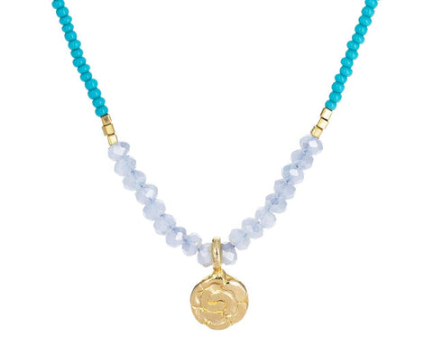 Mystic Quartz and Gold Disc Pendant Necklace - TWISTonline