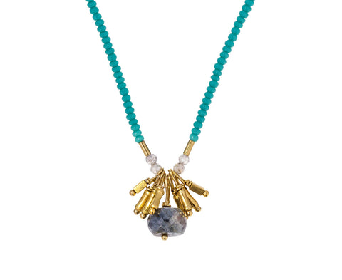 Turquoise Seed Bead and Silverite Pendant Necklace - TWISTonline