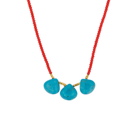 Coral and Turquoise Drop Beaded Necklace - TWISTonline