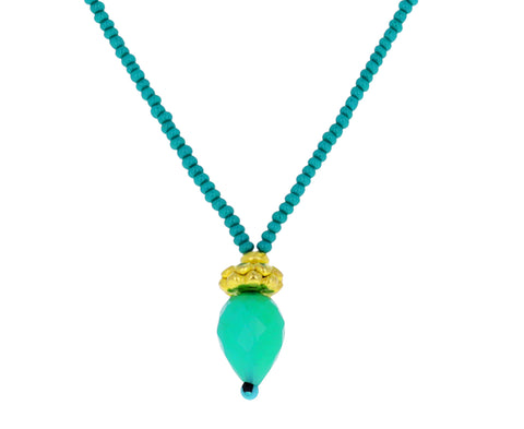 Green Seed Bead and Chyrsoprase Pendant Necklace