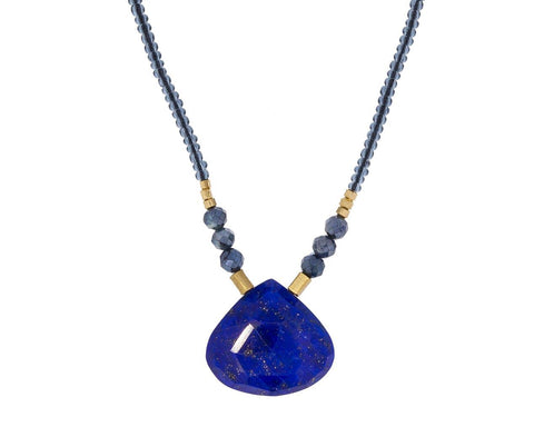 Sapphire Bead and Lapis Pendant Necklace - TWISTonline