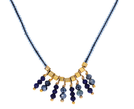 Lapis and Mystic Sapphire Fringe Bead Necklace