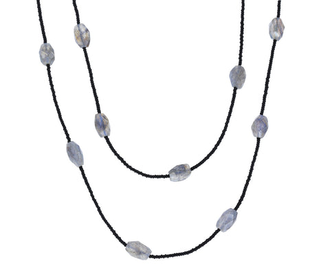 Long Labradorite and Black Seed Bead Necklace