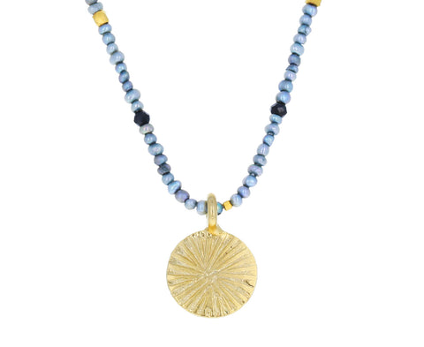 Pearl, Spinel and Gold Beaded Pendant Necklace
