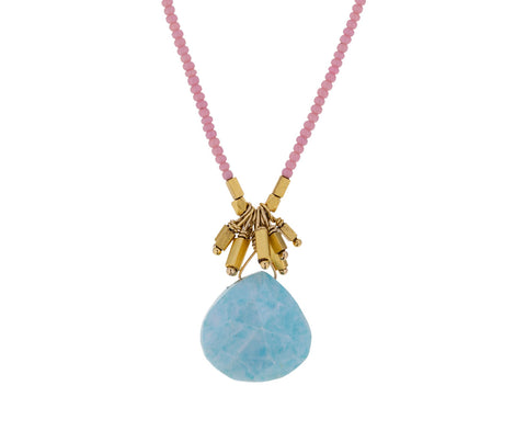 Pink Bead and Blue Opal Pendant Necklace - TWISTonline
