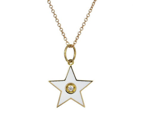 White Enamel Star Pendant Necklace - TWISTonline